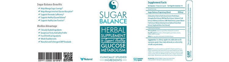 Sugar Balance herbal supplement facts