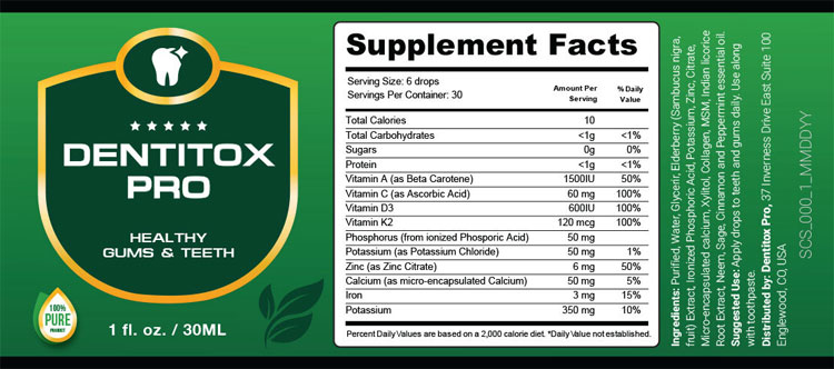 Dentitox-Pro-Supplement-Facts
