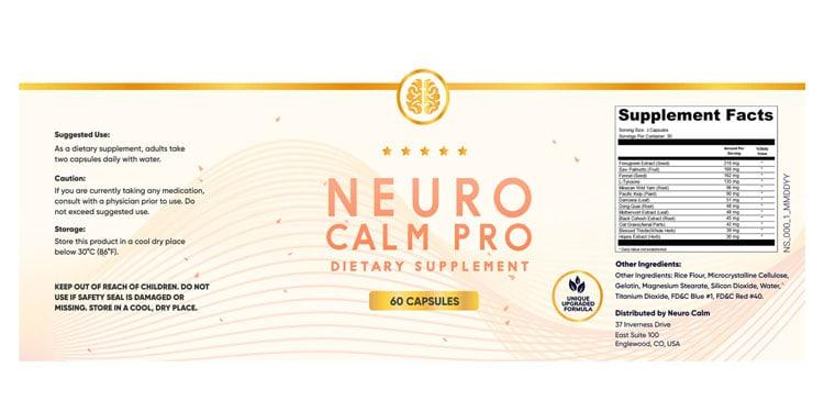 Neuro Calm Pro Supplement Facts