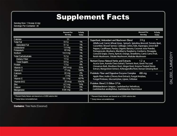 Ultra Boost Juice Supplement Facts