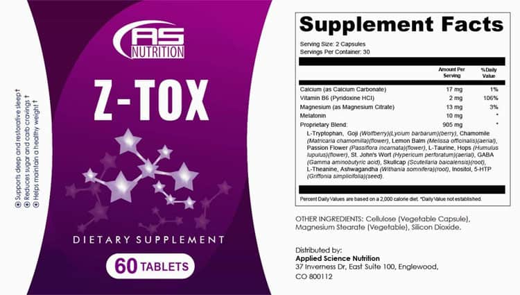 Z-Tox Supplement Facts