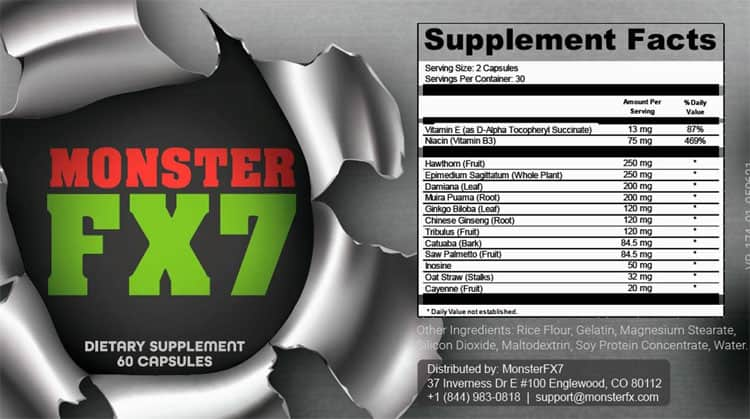 Monster FX7 Supplement Facts