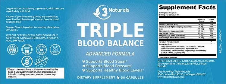 Triple Blood Balance Supplement Facts