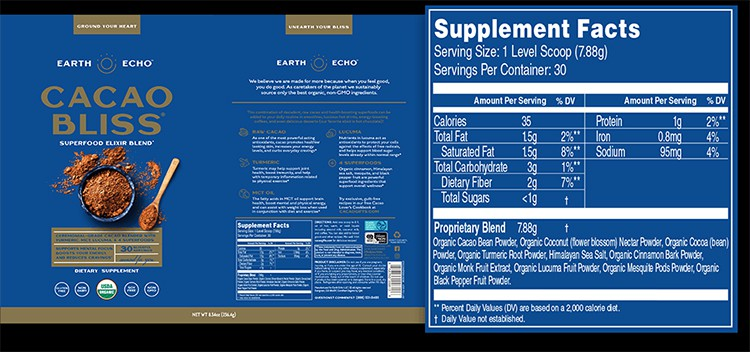 Cacao Bliss Supplement Facts