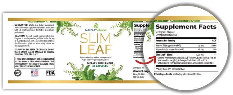 Slim Leaf Supplement Facts